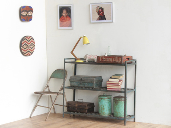 Blue Vintage Metal Shelving Unit