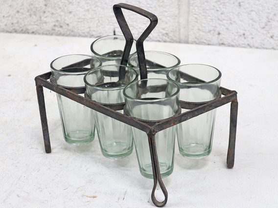 Original Metal Chai Glass Holder With Glasses