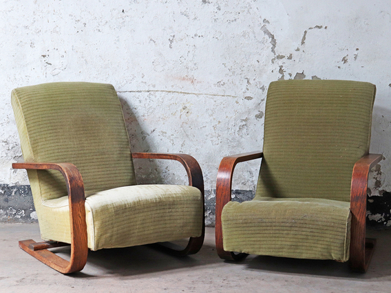 View our  Oak Art Deco Armchairs - Pair from the   collection