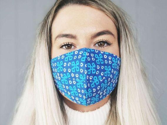 Patterned Blue Cotton Face Mask