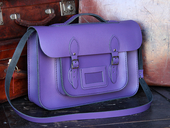 Boys And Girls Classic Purple Leather Satchel 15 Inch With Handle