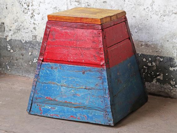 Wooden Vintage Stool - Painted