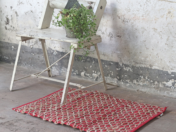 View our  Red Tile Design Cotton Rug from the   collection