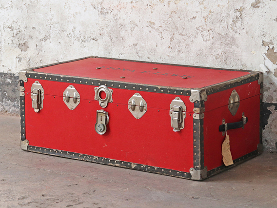 View our  Vintage Red Travel Trunk from the  Sold collection