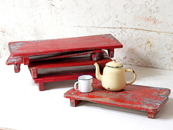 Red Wooden Tray