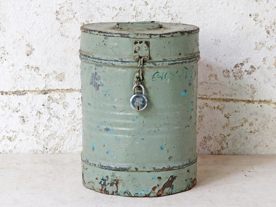 View our  Small Vintage Tin from the  Old Travel Trunks collection