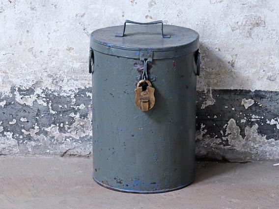 Vintage Grey Storage Drum