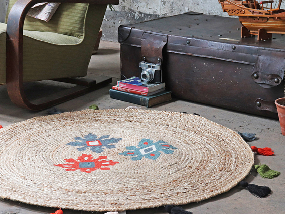 View our  Small Handwoven Natural Rug 100cm from the  Furniture and Interiors collection