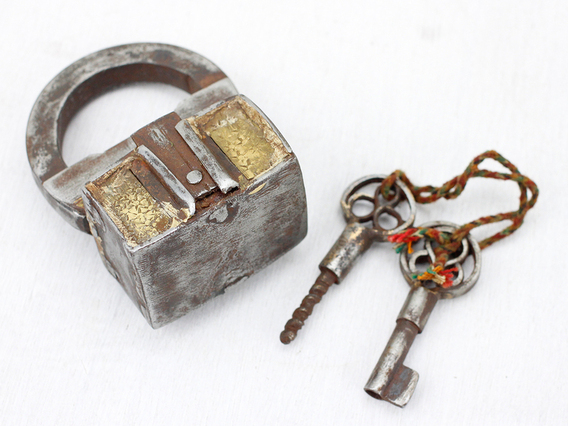 Antique Iron And Brass Screw Padlock