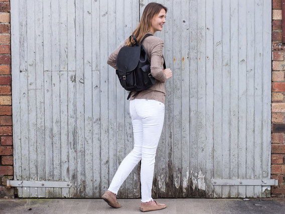 Women's Black Leather Backpack