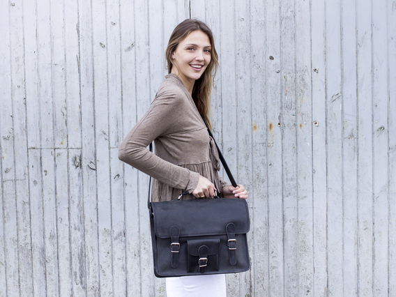 Black Medium Vintage Leather Satchel 15 Inch With Pocket & Handle