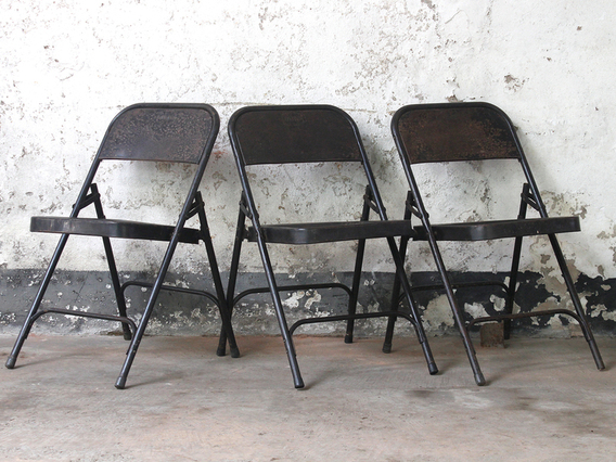 View our  Black Metal Vintage Folding Chairs from the  Dining Room collection