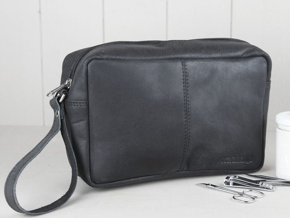 View our  Black Leather Wash Bag from the   collection