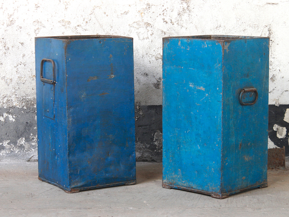 View our  Blue Industrial Metal Storage Bin from the  Old Travel Trunks collection