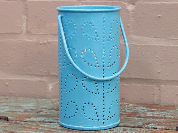 View our  Blue Painted Lantern from the  Vintage Art  collection
