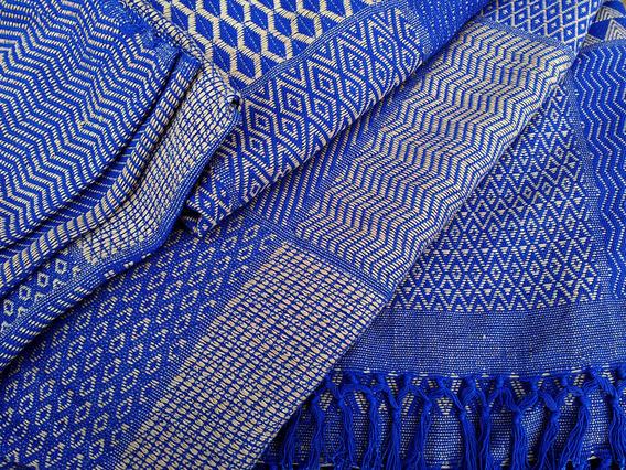 Blue Retro Geometric Bedcover