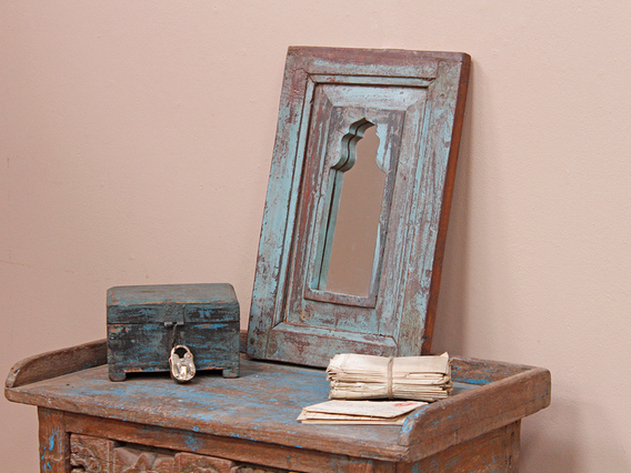 View our  Vintage Blue Teak Mirror from the  Storage Chests collection