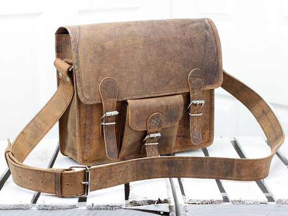View our  Boys And Girls Small Wide Leather Satchel With Front Pocket 13 Inch from the   collection