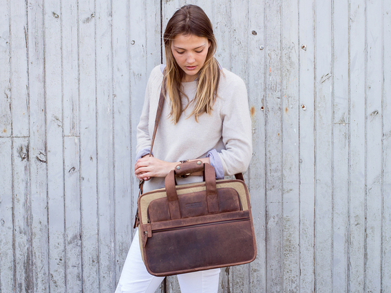 View our Women Leather and Canvas Laptop Briefcase from the Women Sold collection