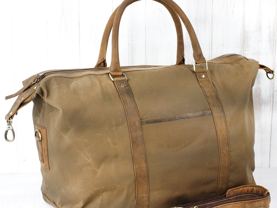 Canvas & Leather Holdall For Women
