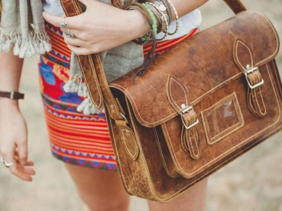 Classic Distressed Leather Satchel 14.5 Inch