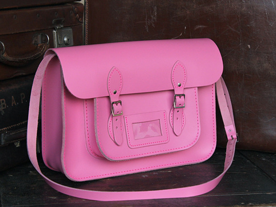 Girls Classic Pink Leather Satchel 15 Inch