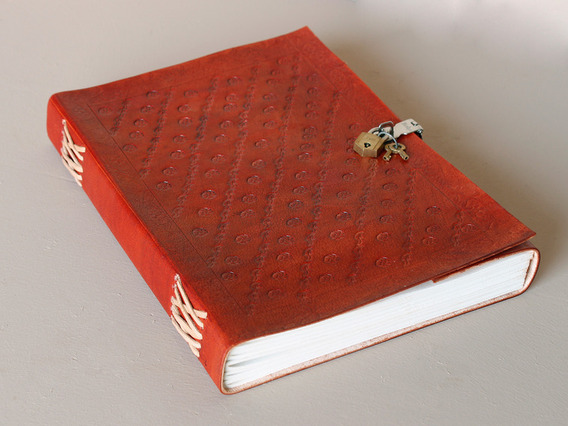 View our  Extra Large Embossed Leather Sketchbook With Padlock from the   collection