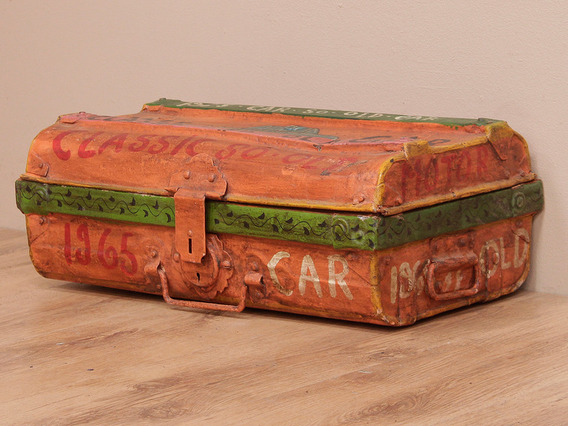 View our  Hand Painted Metal Storage Trunk from the  Vintage Suitcases collection