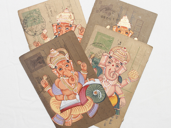 View our  Hand-painted Vintage Indian Postcard - Ganesha from the   collection