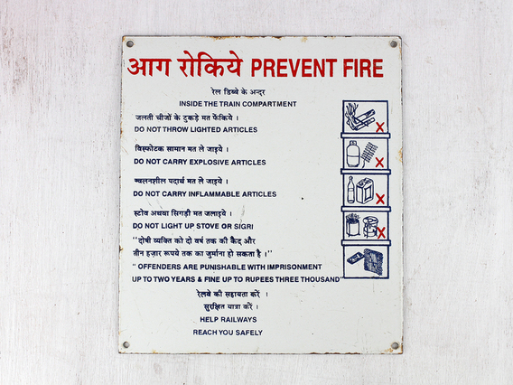 View our  Old Enamel Train Sign - PREVENT FIRE from the  Architectural collection