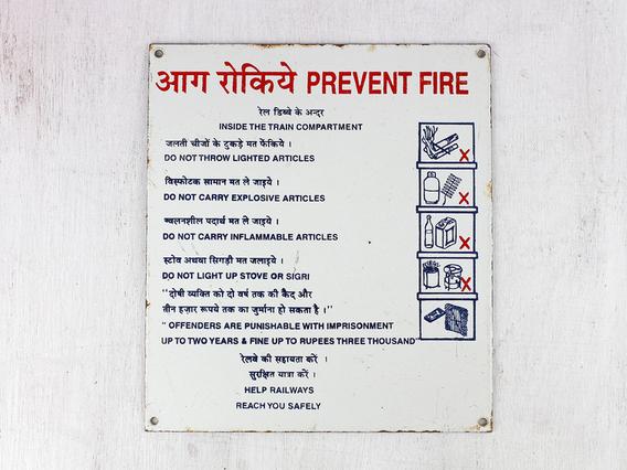 Old Enamel Train Sign - PREVENT FIRE
