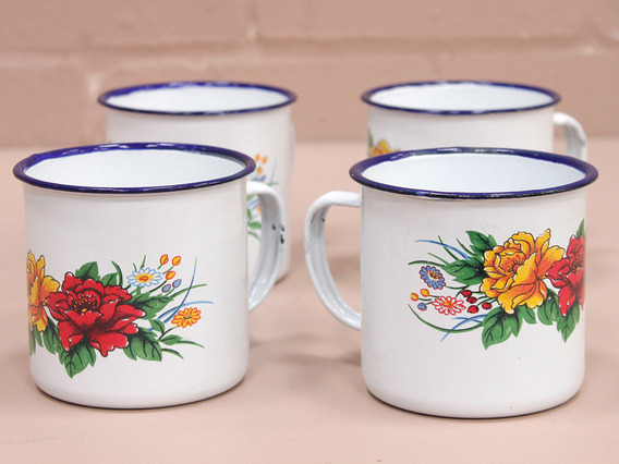 Large Floral Enamel Mugs (Set Of 4)