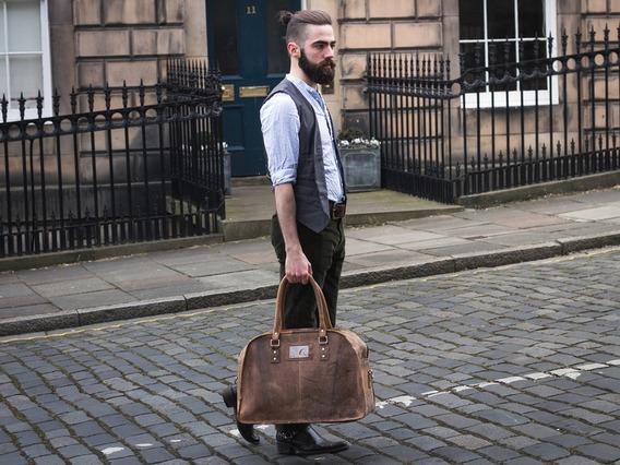 Large Vintage Leather Travel Holdall Bag