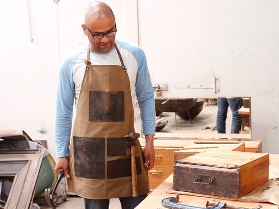 View our  Artisans Leather and Canvas Apron from the  Accessories collection
