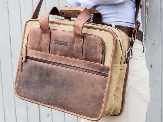 View our Men Men's Leather and Canvas Laptop Bag from the Men  collection