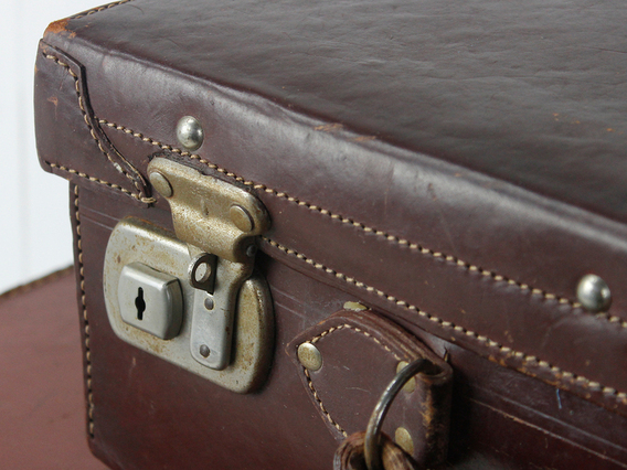 View our  Small Vintage Leather Suitcase from the  Sold collection