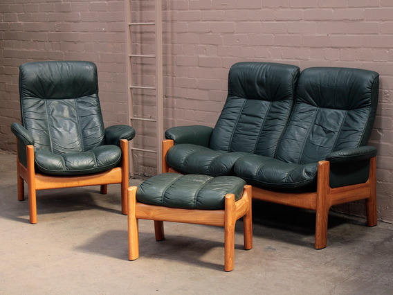 retro 1970s teak and leather ekornes suite sold scaramanga. Black Bedroom Furniture Sets. Home Design Ideas