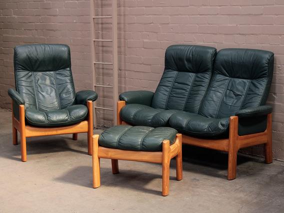 Retro 1970s Teak And Leather Ekornes Suite