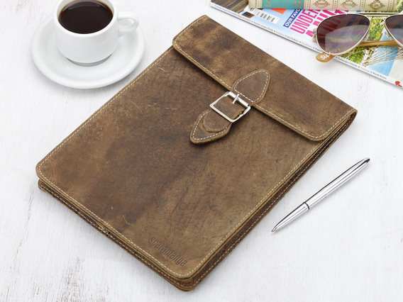 View our  Leather Tablet Case 9 + 10 Inch (Buckle) from the  Travel Accessories collection
