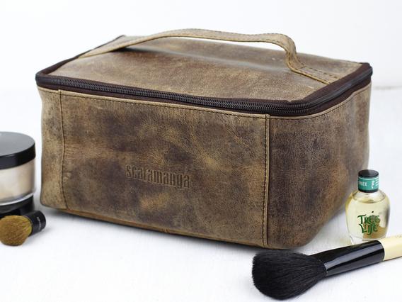 Leather Toiletries & Cosmetics Travel Bag