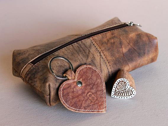 Love Heart Leather Pencilcase Set