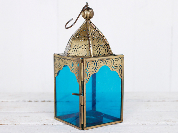 View our  Medium Blue Glass Lantern from the  Wedding Gifts & Decor collection