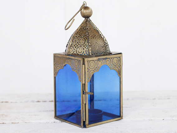 View our  Medium Dark Blue Glass Lantern from the   collection
