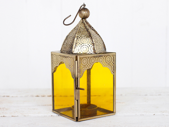 View our  Medium Yellow Glass Lantern from the   collection