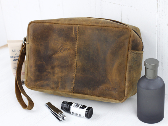 View our  Men's Leather Wash Bag from the  Travel Accessories collection