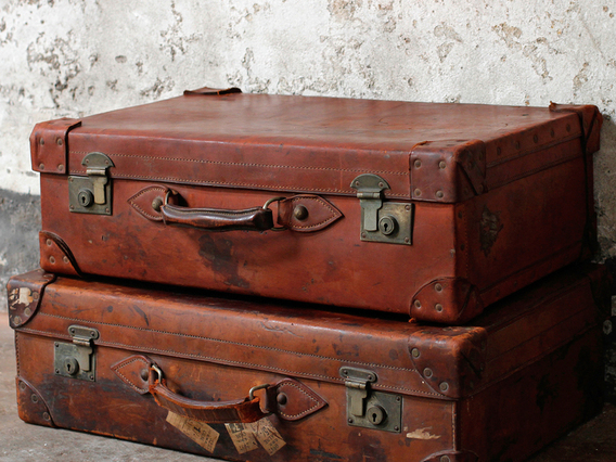 Old Leather Suitcase by Cleghorn Of Edinburgh