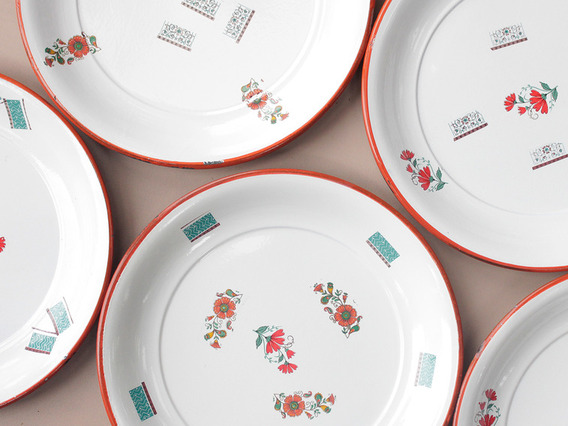View our  Large Mixed Floral Enamel Plate from the   collection