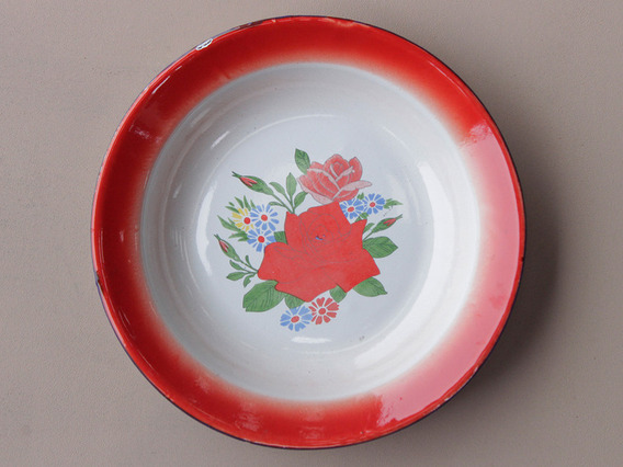 View our  Red Floral Enamel Bowl from the   collection