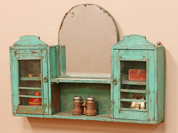 Rustic Green Mirrored Cabinet