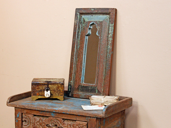 View our  Rustic Ornate Blue Mirror from the  Furniture and Interiors collection